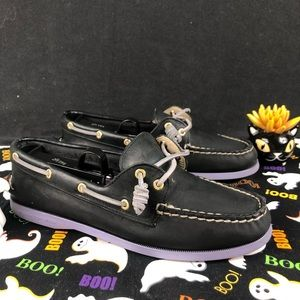 Sperry Top-Sider Leather Black&Purple Authentic